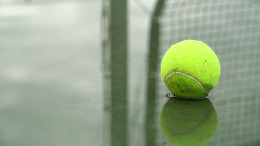 Close up of a somewhat ragged tennis ball in a puddle.  Green surface court.  Net reflected in the water.  Left to right pan.  No people.  Cloudy day. | Shutterstock HD Video #1017790432
