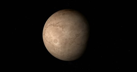 Charon, natural satellite of dwarf planet Pluto, rotating. Loop