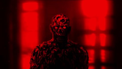 Grim zombie apocalyptic face. Animation in genre of horror. Red background color.