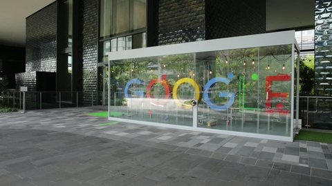 Singapore - May 5, 2018: colorful Google sign on lobby of new Google Headquarters, Mapletree Business City II in Singapore. Google's Asia-Pacific HQ spans of blocks 60 to 70 and employs 1000 people.