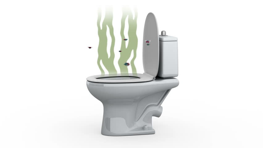 Stench from the toilet. 3D animation, alpha channel, loopable.