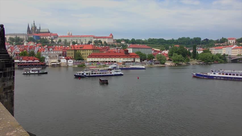 View from the Charles Bridge in Prague, Czech Republic, circa 2015 | Shutterstock HD Video #1017867772