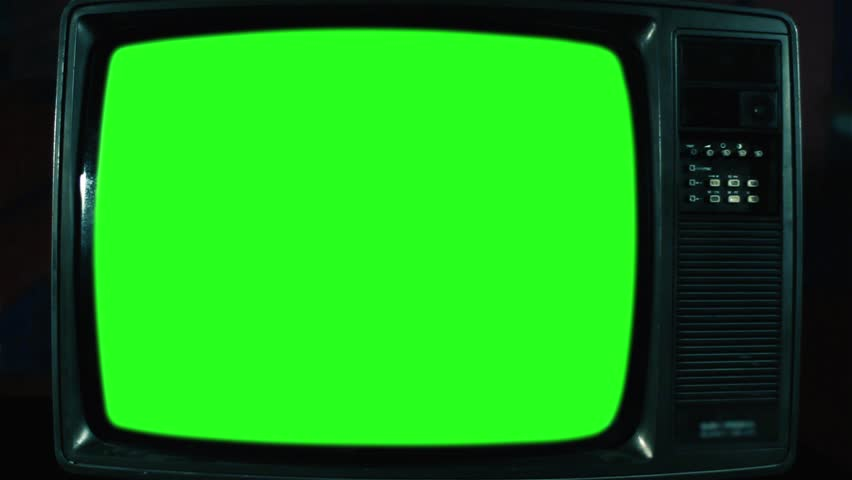Old Television with Green Screen. Green Dark Tone. Ready to Replace     Shutterstock HD Video #1017941632
