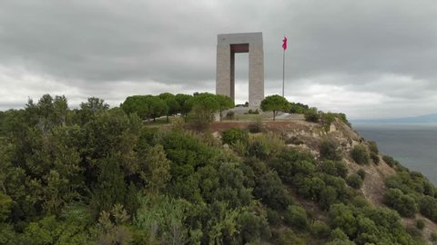 Canakkale Martyrs' Memorial, Rotating Aerial Shot by Drone