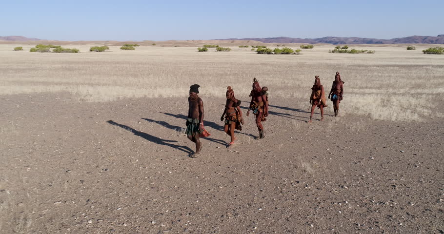 4K aerial zoom out view of five people from the Himba tribe walking in the Namib Desert,Namibia