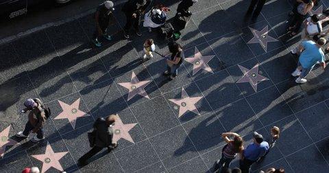 LOS ANGELES, USA - JUNE 18, 2013 Los Angeles Street Artist Dancer Dancing on Walk of Fame Hollywood Boulevard Day