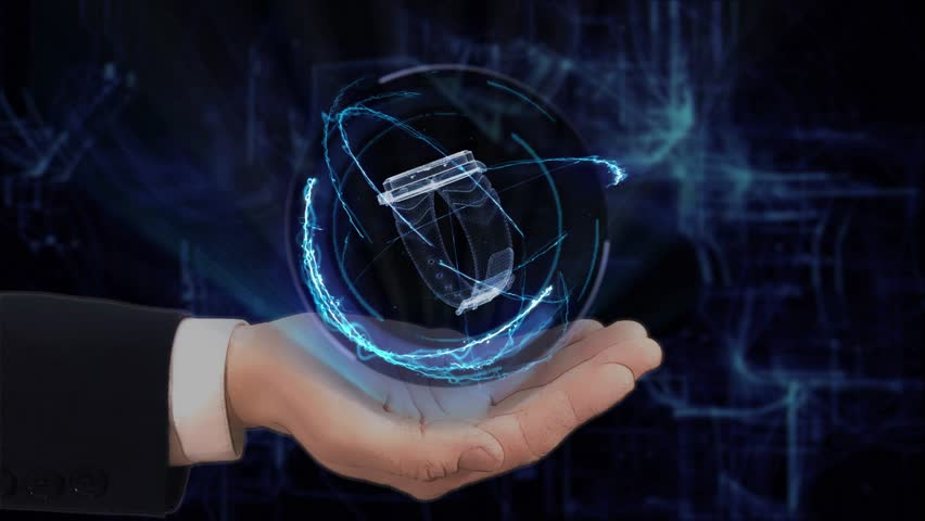 Painted hand shows concept hologram 3d watch on his hand. Drawn man in business suit with future technology screen and modern cosmic background