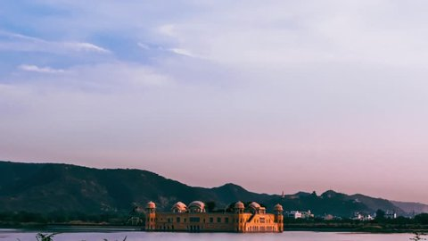 Timelapse of sunset over Jal Mahal. Jal Mahal is one of the famous tourist spot in Jaipur. Jaipur is one of the famous tourist spot in India.