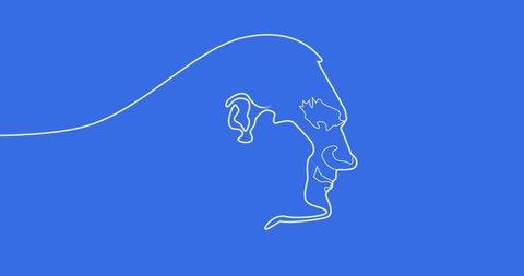 Video Animation Silhouette of Mustafa Kemal Ataturk Single line creating Portrait of Ataturk.