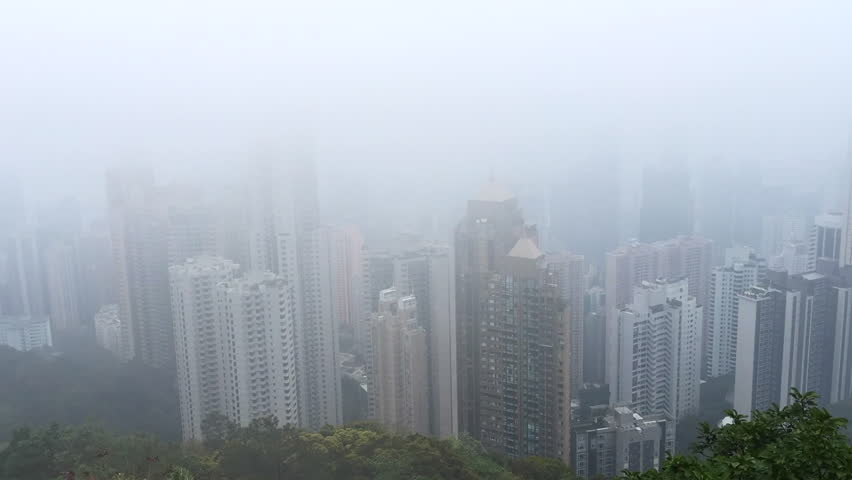 Timelapse view of foggy Hong Kong from Victoria's Peak | Shutterstock HD Video #1018094902