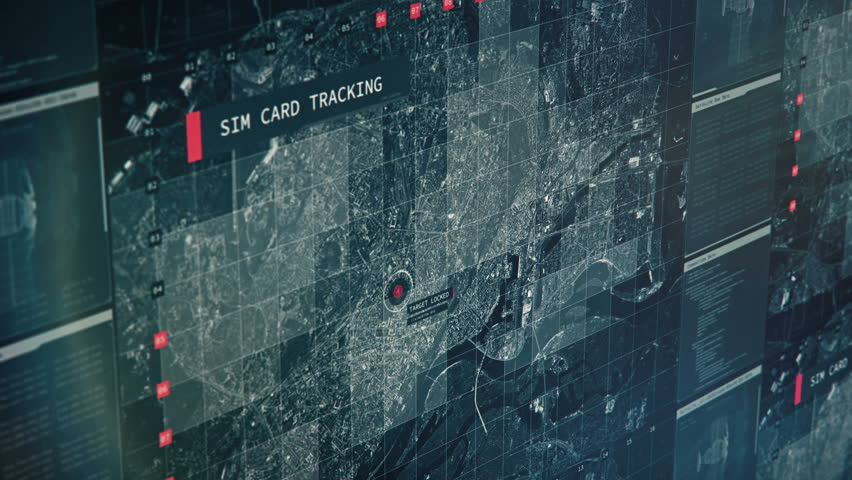 Surveillance system tracking person's phone, sim card tracking, spying on target. Phone tracking, satellite control center | Shutterstock HD Video #1018110292