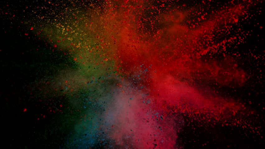 Super slowmotion shot of color powder explosion isolated on black background. Shot with high speed cinema camera at 1000fps #1018129912