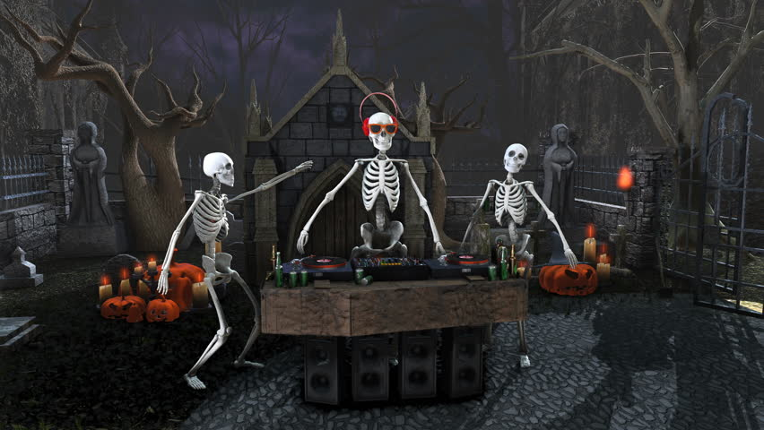 Seamless animation of a DJ skeleton and skeletons dancers in a cemetery at night. Funny halloween background.   Shutterstock HD Video #1018144252