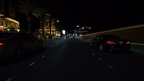 Las Vegas, Nevada, USA - Sep 5, 2018 : Las Vegas Strip Driving Plate South Bound at Night 08 at Wynn Hotel