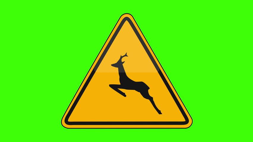Symbol Wild Animal Crossing Yellow Sign Green Screen   Shutterstock HD Video #1018173652