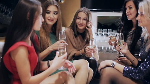 Group of girls in a limousine