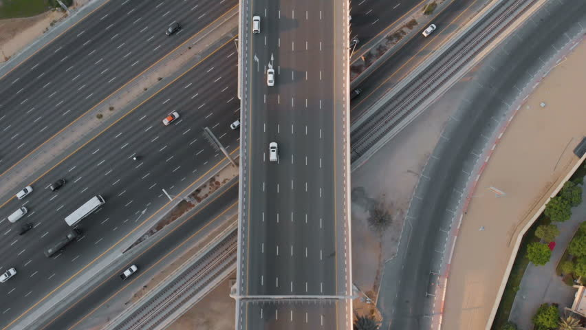 View from the drone at the road junction in the Emirates | Shutterstock HD Video #1018193992