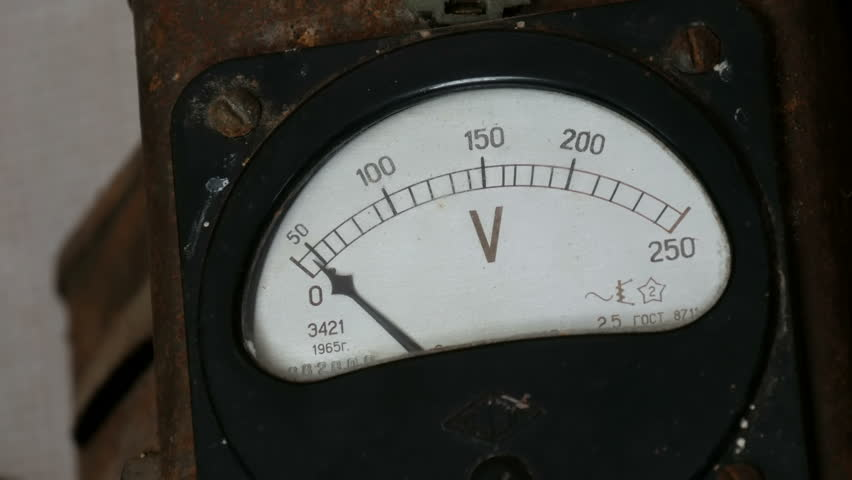 Very old vintage voltmeter that shows voltage | Shutterstock HD Video #1018263562