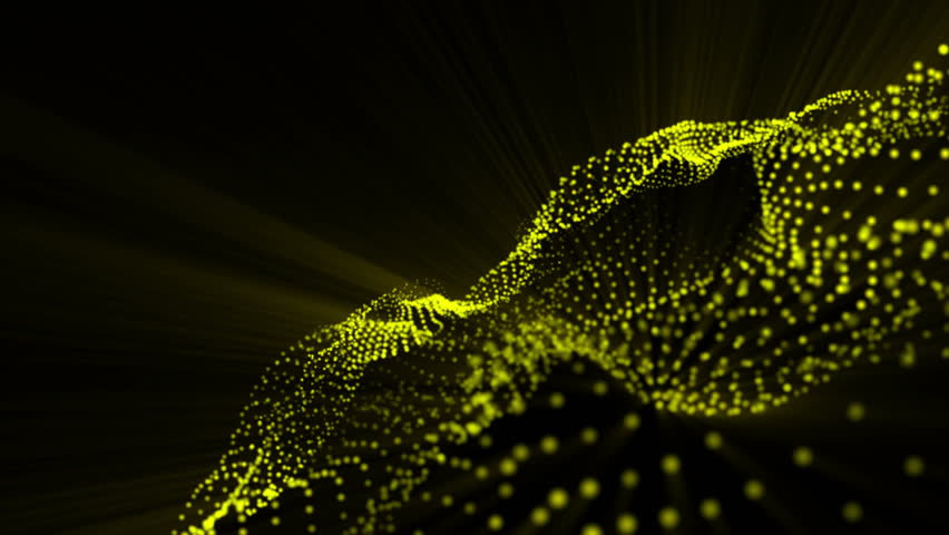 plane of yellow particles slowly oscillates against a black background. abstract animation. 3d rendering #1018402672