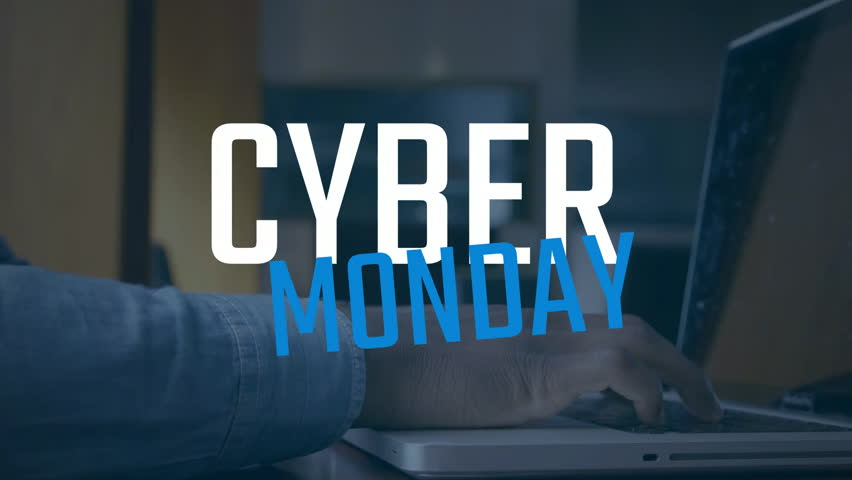 Digital composite video of man using laptop against Cyber Monday text 4k | Shutterstock HD Video #1018460152