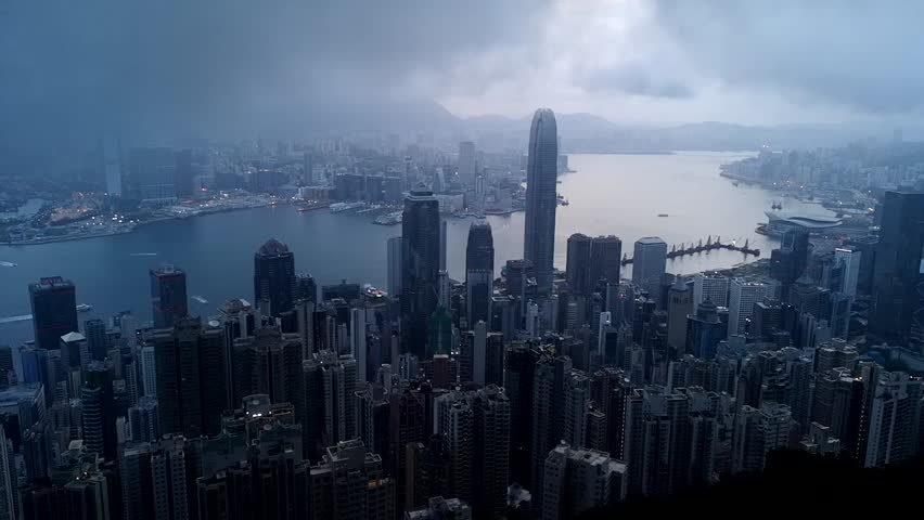 Morning The Peak in Hong Kong | Shutterstock HD Video #1018494532