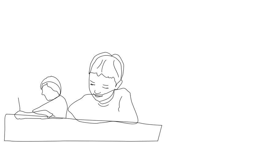 Animated sketch vector drawing doodle young students writing taking quiz test assignment drawn in black changes to color illustration   Shutterstock HD Video #1018501252