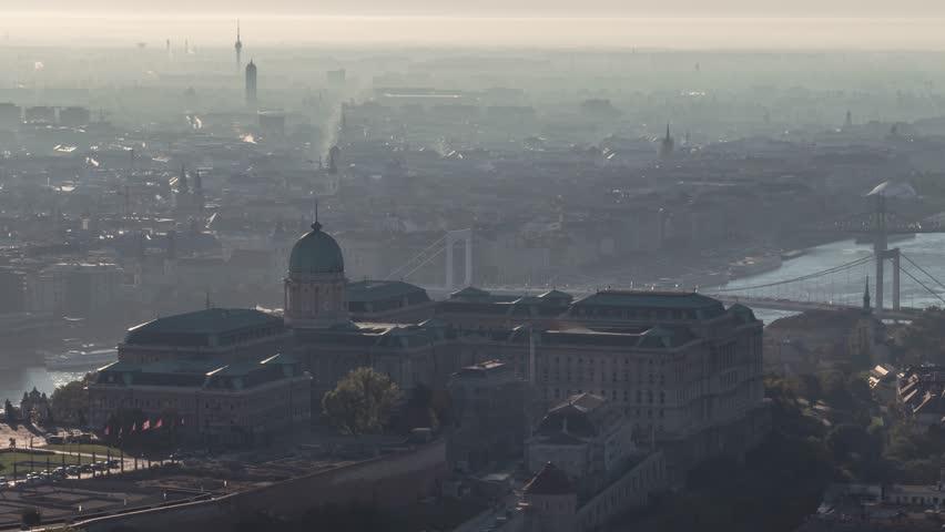 Aerial View of Budapest, Buda Castle, Liberty Bridge, Hungary | Shutterstock HD Video #1018543852