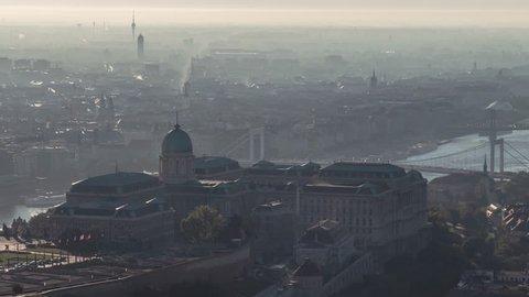 Aerial View of Budapest, Buda Castle, Liberty Bridge, Hungary