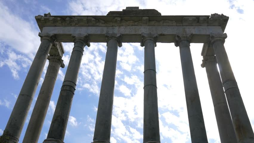 Roman Forum,Temple of Saturn (Tempio di Saturno), Rome, Italy | Shutterstock HD Video #1018573612