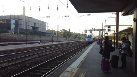Toulon, France - 07 30 2018: A TGV train arrives in the Toulon sation early in the morning