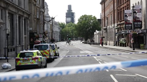 London, United Kingdom (UK) - 08 14 2018: Crime scene tape seals of a deserted Whitehall