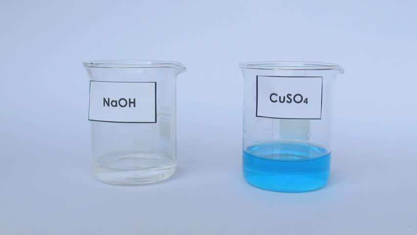 chemical reaction between copper sulphate and sodium hydroxide