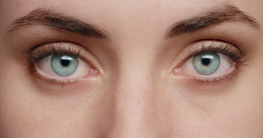 Close up woman blue eyes blinking beautiful natural color healthy eyesight concept | Shutterstock HD Video #1018711432