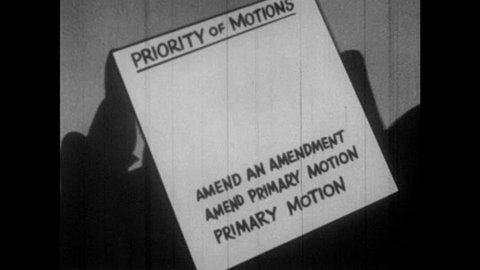 1950s priority of motions list is numbered 1 10 with 8 amend primary