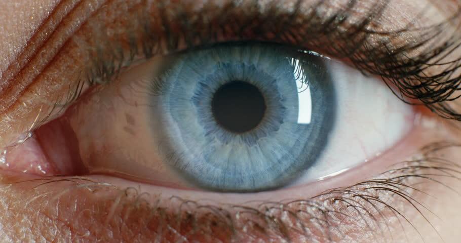 Close up macro eye opening beautiful blue iris natural beauty | Shutterstock HD Video #1018746622