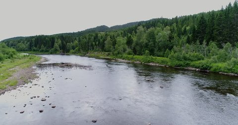 Aerial view over a Norwegian salmon river.