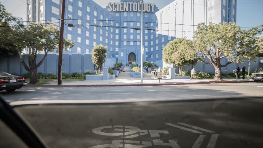 Los Angeles, California / United States - 08 07 2018: Los Angeles, California, August 2018 - Time lapse from inside a car of a Scientology building