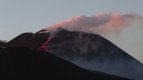 Volcano Etna eruption - Explosion and lava flow in Sicily