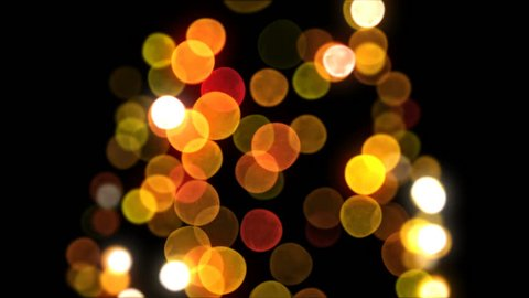 Bokeh New Year Tree Lights Blinking Seamless on Black Background. Loop-able 3d Animation. Merry Christmas and Happy New Year Concept. 4k Ultra HD 3840x2160.