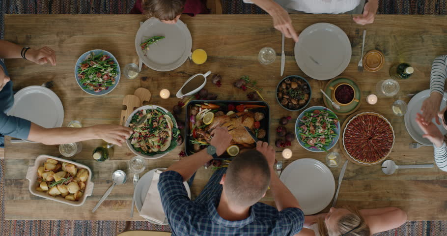 Top view happy family sharing thanksgiving meal together enjoying tasty homemade lunch holiday celebration feast tracking | Shutterstock HD Video #1018898242