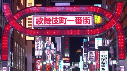 "SHINJUKU, TOKYO / JAPAN - OCTOBER 10 2018 : Night view of ""Shinjuku Kabukicho"". It is a busy street where bright neon shines at night. It is a spot where many tourists visit."