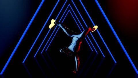 Male dancer performs in futuristic metallic neon costumes, 3D Rendering Animation.