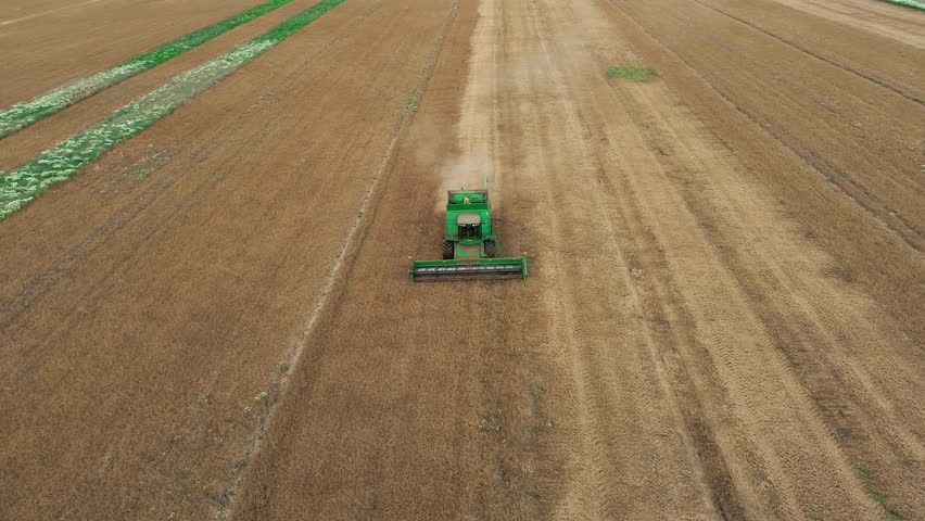 Aerial view modern harvester-combine picking the stems, blades threshing gold barley, fill truck to income kernel. Beautiful background of sunny farmland in countryside, summer season is finishing   Shutterstock HD Video #1018957402