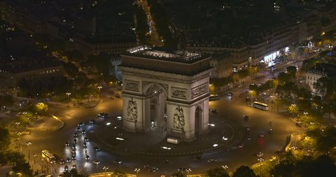 France Paris Aerial v66 Birdseye close up view of Arc de Triomphe to vertical over observation deck 8/18