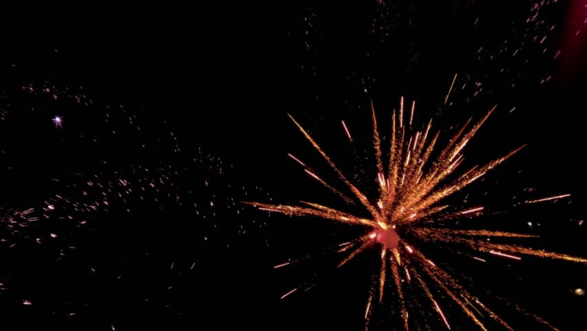 Multiple Fireworks in slow motion Isolated On Black Background. Set of colorful fireworks exploding in the night sky.  | Shutterstock HD Video #1019076952