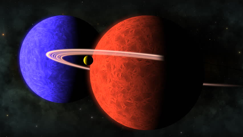 Two rotating planets in the milkyway, one blue planet and an orange planet with planetary rings and an orbiting moon.