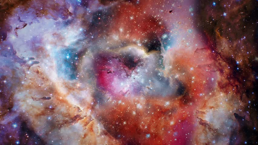 Flying in space through stars and gas cloud Cosmic nebulas 4K, star fields in outer space, suitable for scientific presentations and sci-fi projects