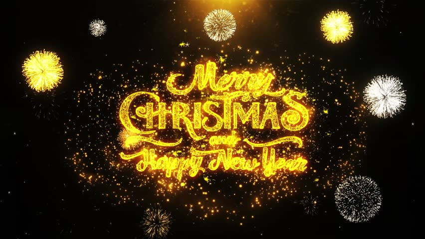 Merry Christmas and new year text Sparks Particles Reveal from Golden Firework Display explosion 4K. Greeting card, Celebration, Party Invitation, Gift, Events, Message, Holiday, Wishes Festival .2 | Shutterstock HD Video #1019313142