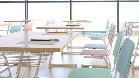 Empty classroom with desk and chair - 3D Rendering