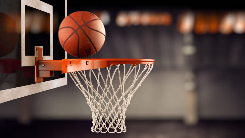 A throw basketball ball in a ring on the basketball arena. The ball hits the shield and then a ring, loopable (4k, 3840x2160, ultra high definition) | Shutterstock HD Video #1019378212